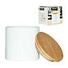 Керамическая белая банка с бамбуковой крышкой 500 мл, фото 2