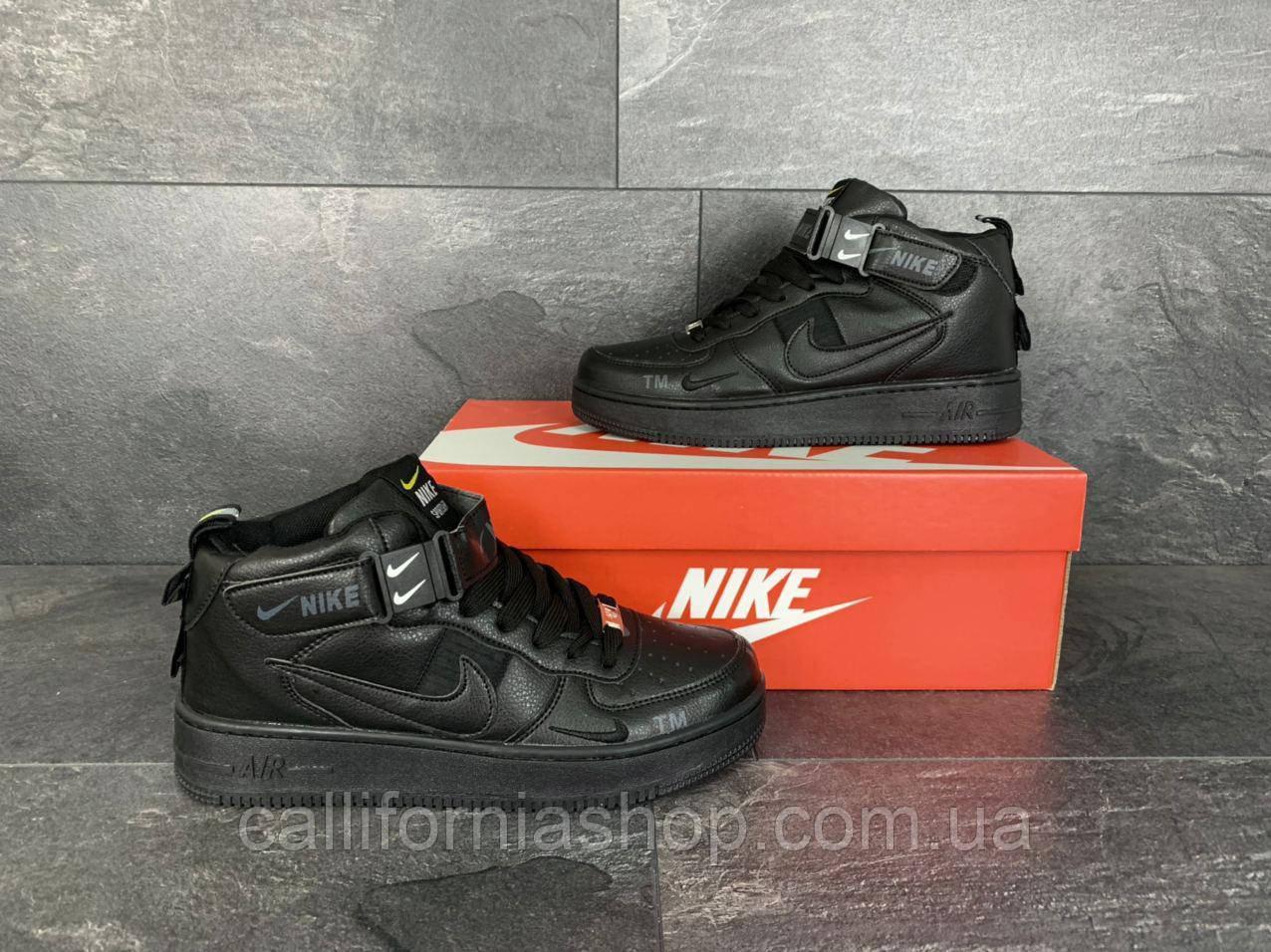 Мужские черные кроссовки Nike Air Force 1 высокие кожаные демисезонные