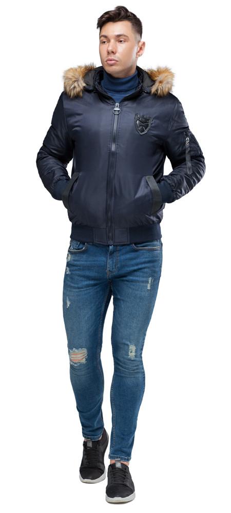 Мужской бомбер темно-синий осенне-весенний модель 50145