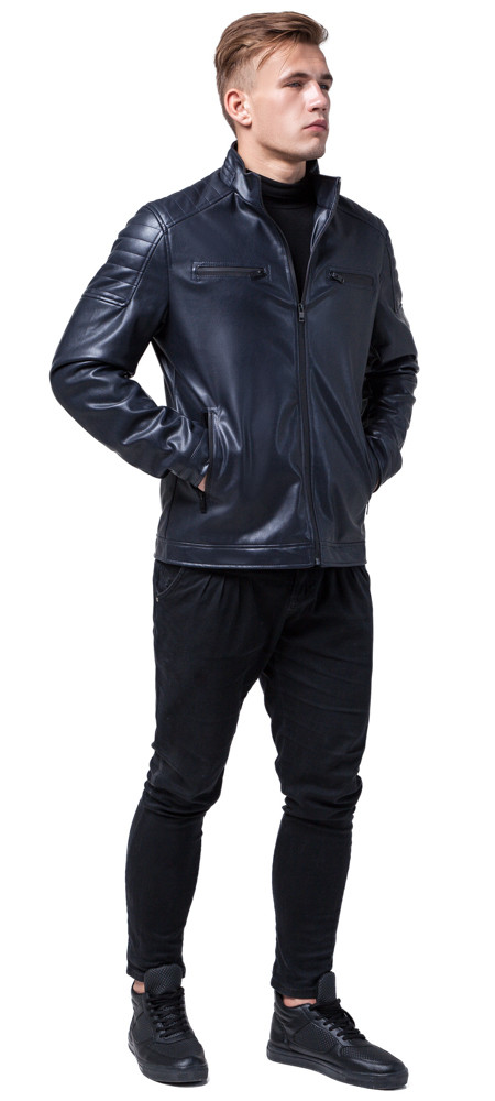 Темно-синяя куртка мужская осенне-весенняя с воротником-стойкой модель 2612