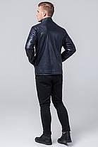Темно-синяя куртка мужская осенне-весенняя с воротником-стойкой модель 2612, фото 3