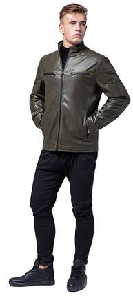 Куртка мужская осенне-весенняя короткая цвета хаки модель 2612, фото 2