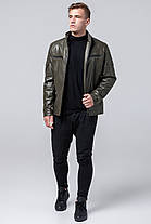 Куртка мужская осенне-весенняя короткая цвета хаки модель 2612, фото 3