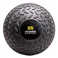 Мяч SlamBall для кросфита и фитнеса Power System черный 5 кг рифленый PS-4115 SKL24-238294