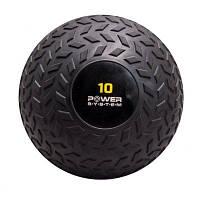Мяч SlamBall для кросфита и фитнеса Power System черный 10 кг рифленый PS-4116 SKL24-238295