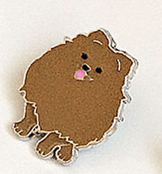 Значок брошка пін собака порода шпіц рудий метал емаль