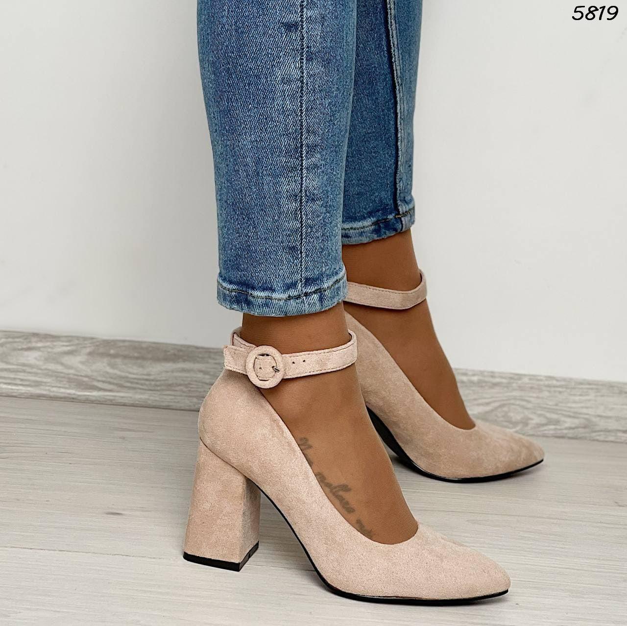Туфли женские замша бежевые 5819 (ВБ)