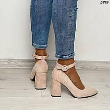 Туфли женские замша бежевые 5819 (ВБ), фото 2