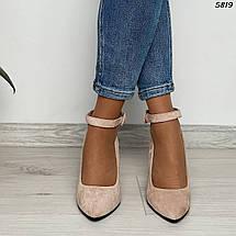 Туфли женские замша бежевые 5819 (ВБ), фото 3