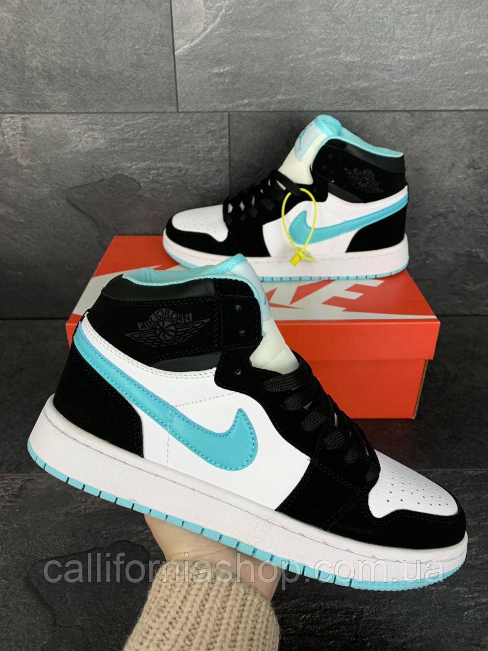 Кроссовки мужские Nike Air Jordan 1 Retro Найк Аир Джордан 1 Ретро белые с мятным