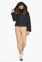 Куртка черная зимняя женская короткая модель 21470, фото 2