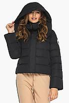 Куртка черная зимняя женская короткая модель 21470, фото 3