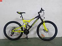 """Горный двухподвесный велосипед Azimut Scorpion 26""""D рама 17"""" собран в коробке + КРЫЛЬЯ в ПОДАРОК черно-желтый"""
