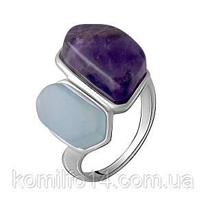 Серебряное кольцо с натуральным аметистом и аквамарином