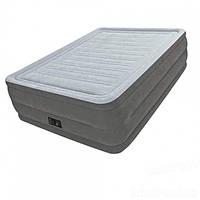 Надувная суперпрочная двухспальная кровать Intex 64418, технология Fiber-Tech (152х203х56 см) + встроенный