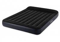 Удобный надувной матрас двуспальный Intex 64143 Pillow Rest Classic Airbed (152 x 203 x 25 см), синий