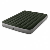 Надувной качественный двуспальный матрас Intex 64763 (152 x 203 x 25 см) + встроенный ножной насос