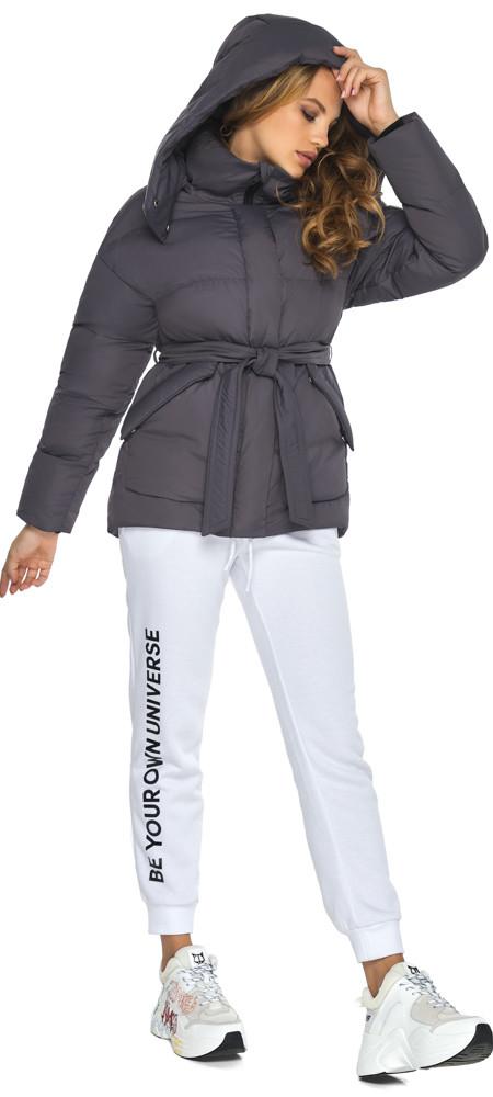 Куртка с поясом женская графитовая зимняя модель 24350