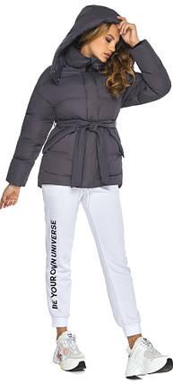 Куртка с поясом женская графитовая зимняя модель 24350, фото 2