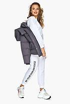 Куртка с поясом женская графитовая зимняя модель 24350, фото 3