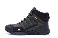 Мужские зимние кожаные ботинки Adidas TERREX Green (реплика)