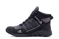 Мужские зимние кожаные ботинки Adidas TERREX Black Grey (реплика)