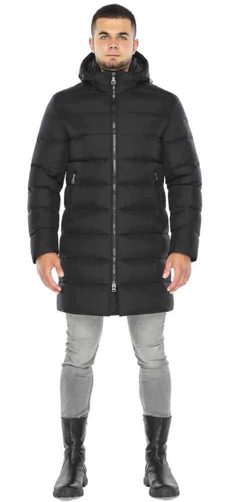 Куртка черная с манжетами мужская на зиму модель 42110