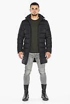 Куртка черная с манжетами мужская на зиму модель 42110, фото 3