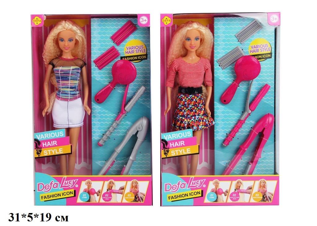 Лялька типу Барби Defa Lucy з набором перукаря 2 види 30 см в коробці 8381