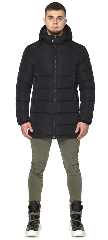 Черная куртка на змейке зимняя мужская модель 36470 (ОСТАЛСЯ ТОЛЬКО 56(3XL))