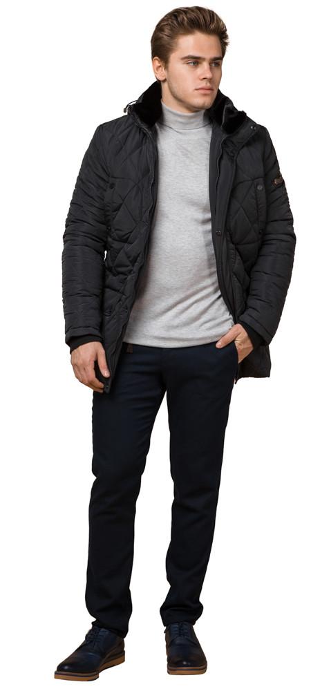 Графитовая мужская куртка с внешними карманами зимняя модель 44842