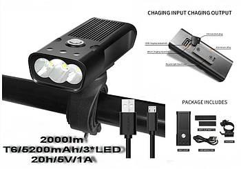 Мощная велосипедная фара TRLIFE+Функция Power Bank (2000LM, 5200mAh, T6*3, USB, micro USB, IPX5, 18650*2)