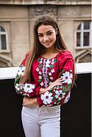 Женская блузка - вышиванка Весенние мечты  р.  ХЛ (52-54) 2ХЛ (54-56) вишнева