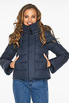 Пуховик темно-синий зимний женский с манжетами модель 21470, фото 3