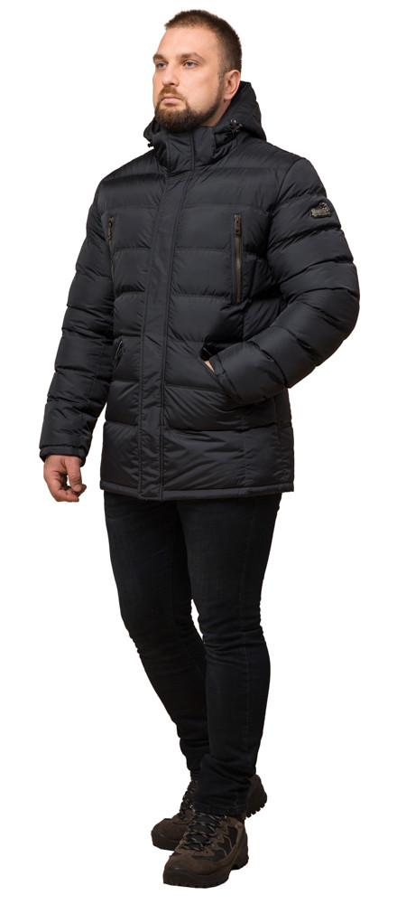 Куртка большого размера качественная зимняя мужская цвет графит модель 12952