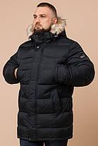 Мужская теплая куртка большого размера графитового цвета зимняя модель 37762, фото 2