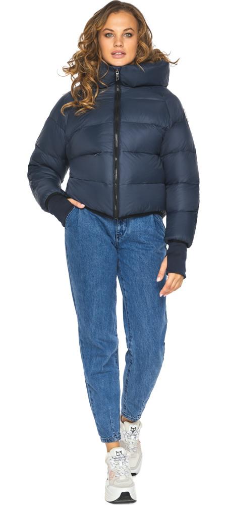 Пуховик зимний женский темно-синий модель 26420