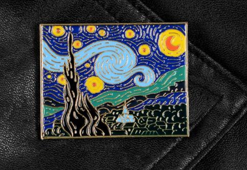 Брошь брошка пин значок художник Винсент ван Гог как картина звездная ночь