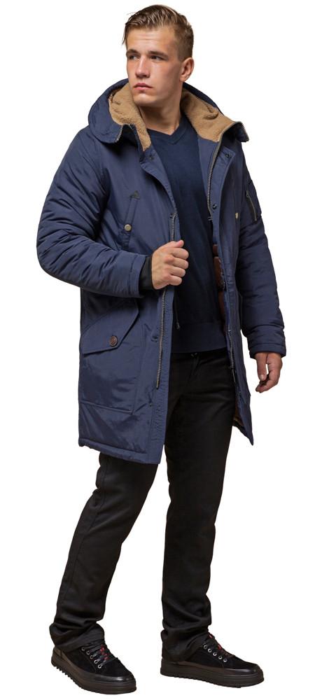 Синяя парка мужская зимняя с капюшоном модель 90520