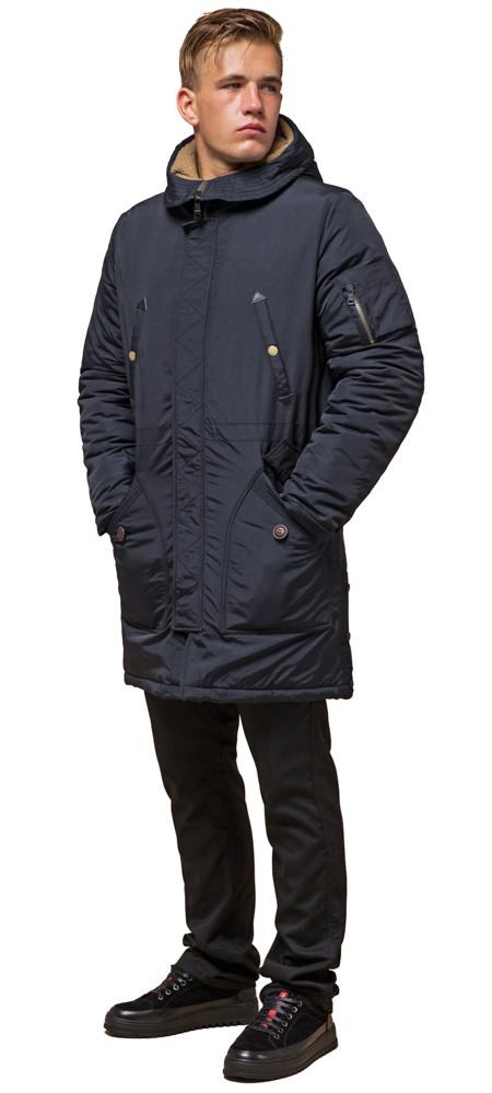 Зимняя черно-синяя парка мужская удлиненная модель 90520