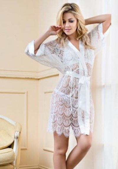 """Білий мереживний халат жіночий """"Феєрія"""""""