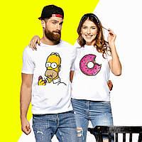 Парні футболки з принтом Пончик і Сімпсон Push IT XS, Білий