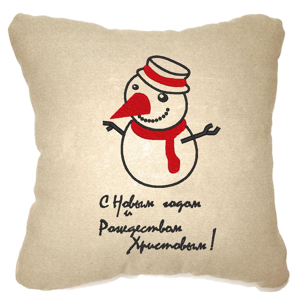 """Новогодняя подушка """"С Новым годом и Рождеством! """" 35"""