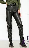 Кожаные женский брюки утепленные  031 В