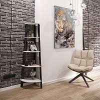 Угол 5 полок / напольные полки для декора и книг из дерева на металлическом каркасе в стиле лофт