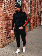 Спортивный костюм мужской с лампасами черно-красный весенний осенний | демисезонный Кофта + Штаны ЛЮКС, фото 1