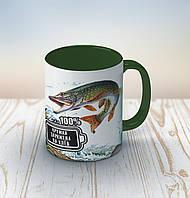Чашка темно-зеленая Рыбаку. Кружка заряжена на клев