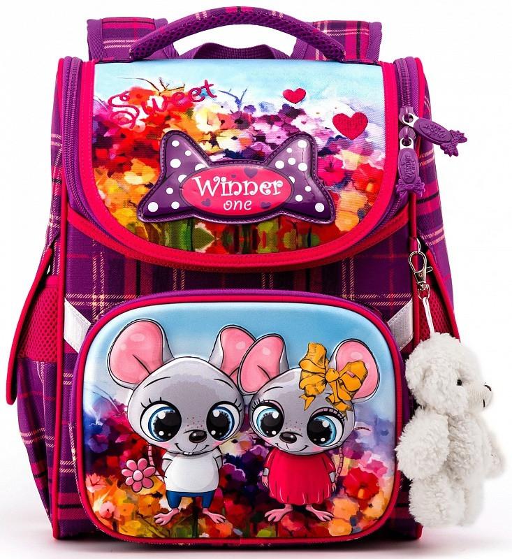 Рюкзак шкільний в 1-3 клас з ортопедичною спинкою для дівчинки Мишки Winner One 2041