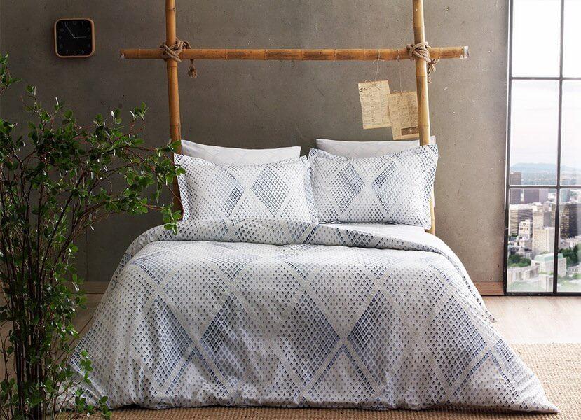 Двуспальное евро постельное белье TAC Gina Blue Сатин Fluorescent