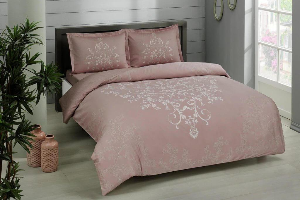 Двуспальный евро комплект TAC Anissa Pink Сатин